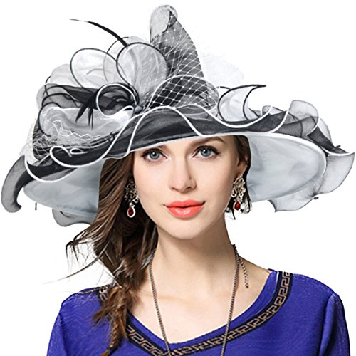Womens Fashion Derby (Women's Church Derby Dress Fascinator Bridal Cap British Tea Party Wedding Hat (Two-Tone-Black))