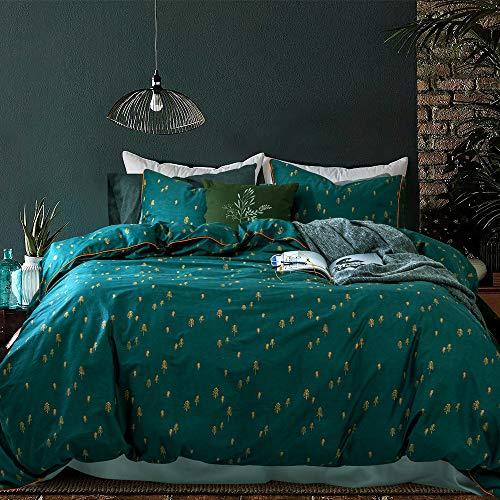 Opcloud Bedding Duvet-Cover-Set, King Green Pine Pattern Cotton Luxury High Thread Soft Bedding Set,1 Duvet Cover and 2 Pillow Shams Comforter Cover-Set