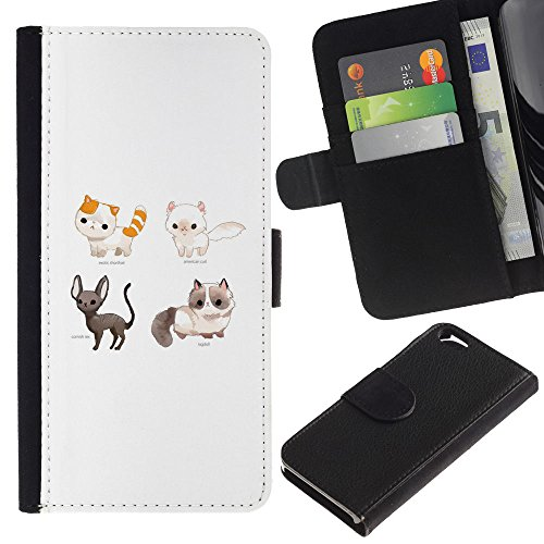 OMEGA Case / Apple Iphone 6 4.7 / exotic shorthair cornish rex cat ragdoll / Cuir PU Portefeuille Coverture Shell Armure Coque Coq Cas Etui Housse Case Cover Wallet Credit Card