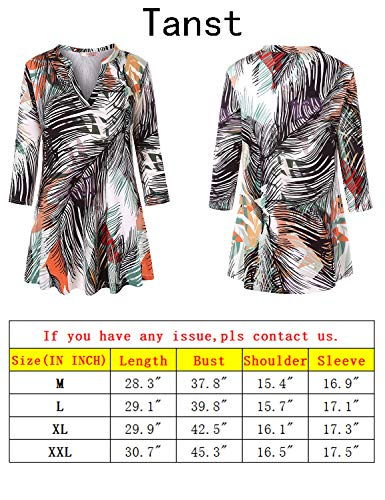 Tanst Tunic Tops for Women 3/4 Sleeve, Notch V Neck Tshirt Dressy Blouse Comfortable Flattering Floral Shirt Flower Loose Fit Fall with Leggings and Boots Green M by Tanst (Image #6)
