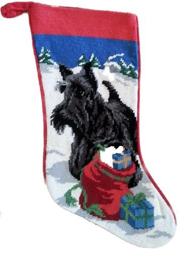 Scottish Terrier Scottie Dog Needlepoint Christmas Stocking