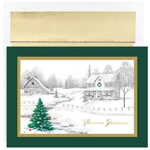 Masterpiece Studios Holiday Collection 16 Cards / 16 Foil Lined Envelopes, Winter Scene ()