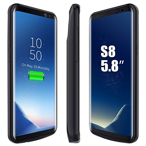 GIZMOOR Samsung Galaxy S8 Battery Case, 5000mAh Rechargeable Charging External Battery S8 Type C Case Backup Pack Juice Recharger Charger Power Bank Cover for Samsung Galaxy S8 - Black