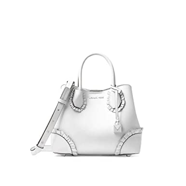 065fd556fdec Amazon.com: Women's Accessories Michael Kors Mercer Gallery White Ruffled  Small Satchel Spring Summer 2018: Clothing