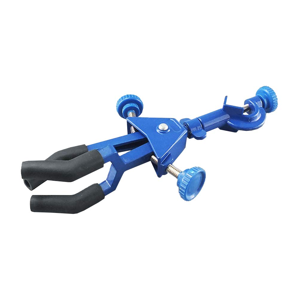 Adamas-Beta Three Prongs Extension Flask Clip Clamp, Two Adjustable Clip Three-Prong Swivel Flask Clamp with Screw Base, Spray Coating Blue, Large Size by Adamas-Beta