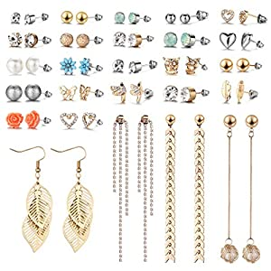 29 Pairs Assorted Multiple Stud Earrings set for Women Girls Simple Hoop earring set Girl's jewelry…