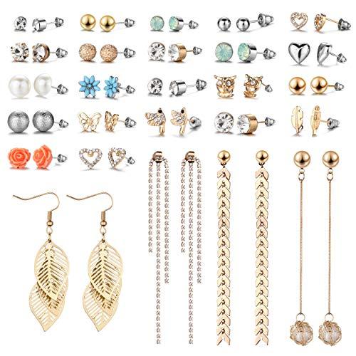 29 Pairs Assorted Multiple Stud Earrings set for Women Girls Simple Hoop earring set Girl