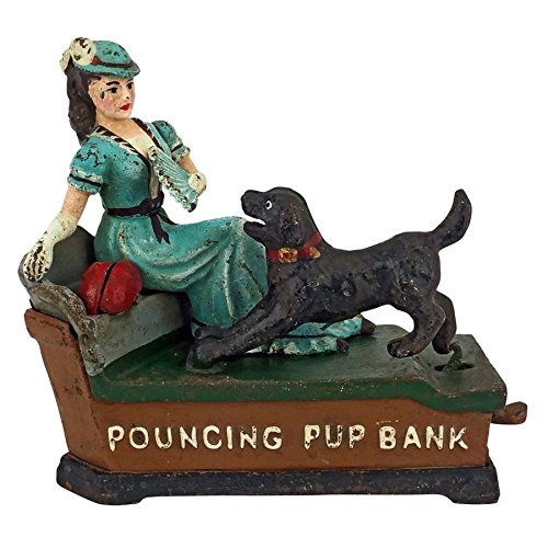 Design Toscano Pouncing Pup Die Cast Iron Mechanical Coin Bank