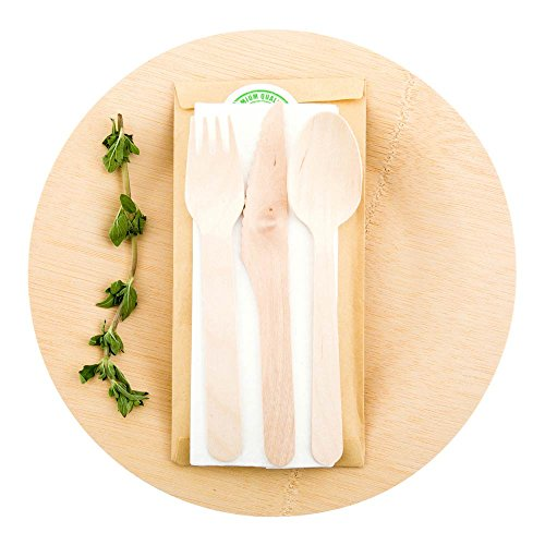 Wood Cutlery Set with Napkin in Pouch - Great For Parties or Catering - Utensil Set - Wooden Fork, Knife, Spoon and Napkin - 100ct Box - Restaurantware
