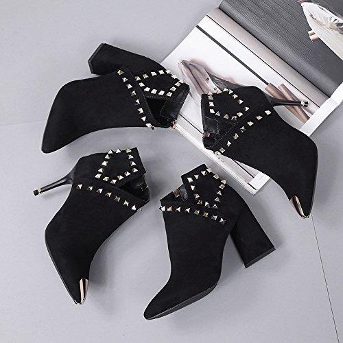 KHSKX-Sharp Talón Talón Talón Talón Zapatos De Tacon Alto De Mujer Martin Botas Corto Tubo De Primavera Otoño - Invierno British Wind Algodón Bare Botas black