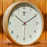 Hippih Silent Wall Clock Wood 12 Inch Non Ticking Digital Quiet Sweep Decorative Vintage Wooden Clocks with Glass Cover