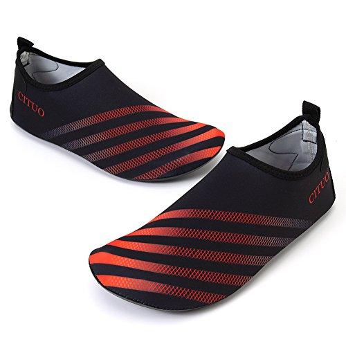 FCKEE Wasser Schuhe Aqua Schuhe Aqua Socken Slip-On Barfuß Leicht Quickdry Durable Sole Mutifunktional Für Strand Schwimmen Surfen Yoga Frauen Kind T.red