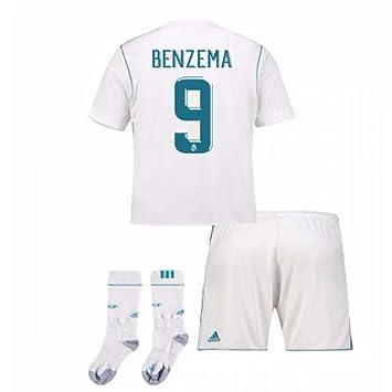 UKSoccershop 2017-17 Real Madrid Home Full Kit (Karim Benzema 9)