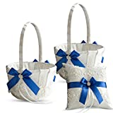Alex Emotions Ivory Ring Bearer Pillow and Basket Set | Lace Collection | Flower Girl & Welcome Basket for Guest | Handmade Wedding Baskets & Pillows (Royal Blue)