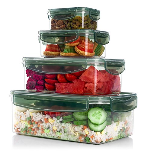 ME.FAN Tritan Plastic Food Storage Containers, Airtight Nested Containers Set with Lids, 100% Leak Proof, BPA Free - FDA Approved - Rectangle 8-Piece Set - Dark Green