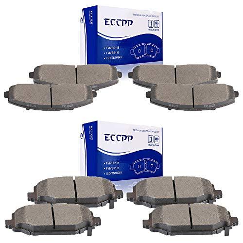 ECCPP Brake Pads, 8pcs Front Rear Ceramic Disc Brakes Pads Set fit for 2012 2013 2014 2015 2016 Chrysler Town Country, Dodge Grand Caravan, Dodge Journey,2012 2013 2014 2015 Ram C/V