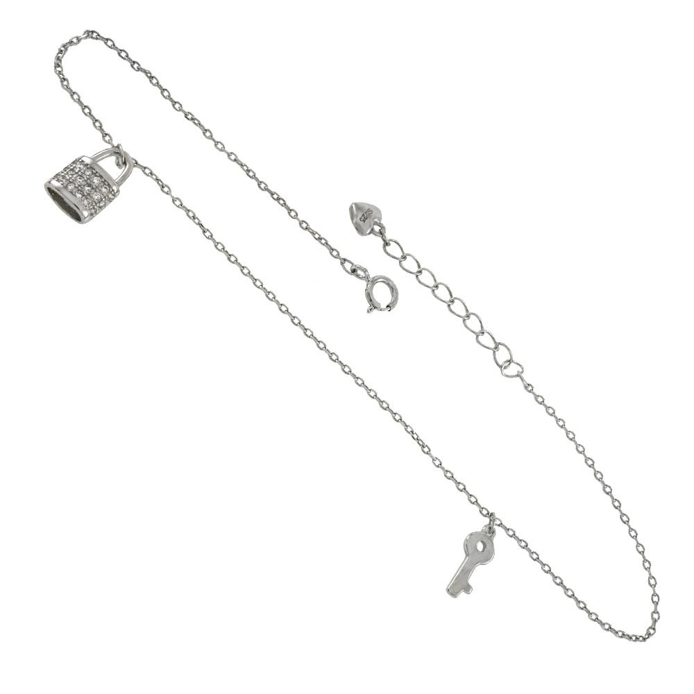 CloseoutWarehouse Clear Cubic Zirconia Lock And Key Adjustable Anklet Rhodium Plated Sterling Silver