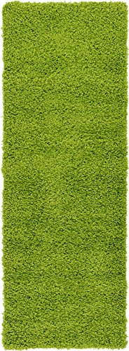 Unique Loom Solo Solid Shag Collection Modern Plush Grass Green Runner Rug (2' 2 x 6' 5) - Olive Green Runner Rug