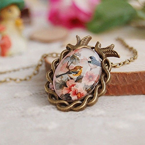 (Cameo Bronze Oval Vintage Necklace Flower Bird Glass Cabochon Pendant)