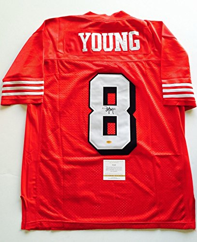 49ers Steve Young Signed Custom Football Jersey LSC Witness COA by Luxury Sports Collectibles