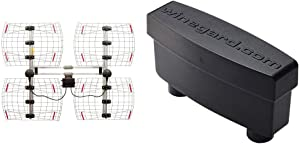 ANTENNAS DIRECT 8 Element Bowtie Indoor/Outdoor HDTV Antenna - 70 Mile Range - DB8e & Winegard LNA-200 Boost XT HDTV Preamplifier, TV Antenna Amplifier Signal Booster, HD Digital VHF UHF Amplifier