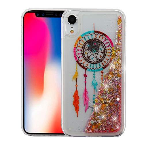 JoJoGold Case for Apple iPhone XR (6.1 Inch), Glitter Liquid Aquarium Design Cover, Slim Fit Transparent TPU Cover, Comes with Tempered Glass Screen Protector - Dream Catcher ()