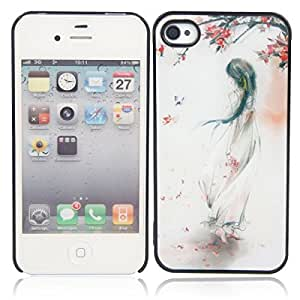 3D Girl + Flower Pattern Protective Case for iPhone 4/4S