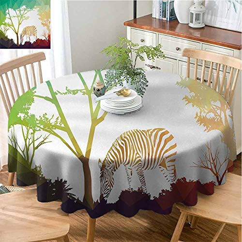 VICWOWONE Multi-Pattern Round Tablecloth Africa Reusable Digital Zebra Figure in Fractal Display Vivid Colors A Look at Kenya Illustration (Round,70 Inch) Multicolor