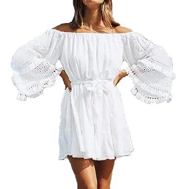 VJGOAL Moda de Verano Blanco Encaje Sexy Fuera del Hombro Slash ...