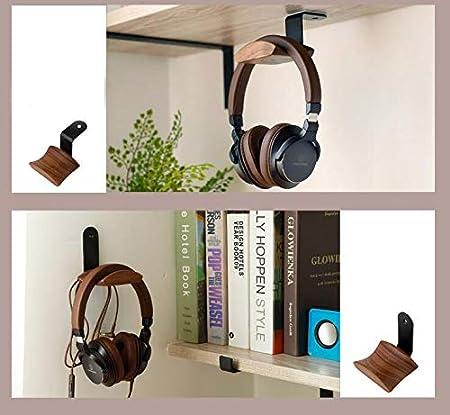 KiaoTime Headphone Hanger Holder Headset Stand Walnut Wood Headphone Rack Hook Desk Tabletop Tape Under-Desk Mount Headphone Hanger Holder for Audio,Studio /& Gaming Headphones Under-Desk Mount