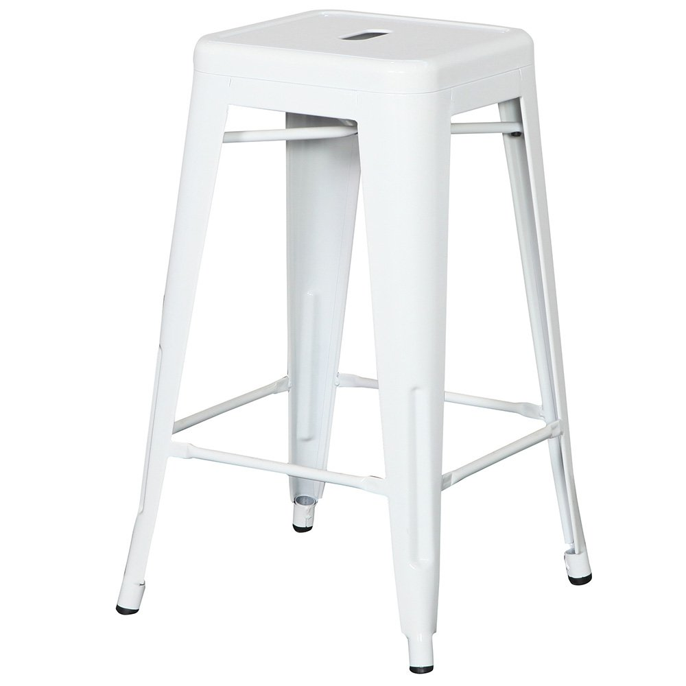 Flash Furniture 24'' High Backless White Metal Indoor-Outdoor Counter Height Stool with Square Seat by Flash Furniture