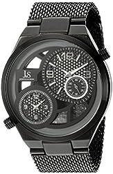 Joshua & Sons Men's JX111BK Round Black, Gray and See Thru Dial Two Hand Quartz Black Bracelet Watch