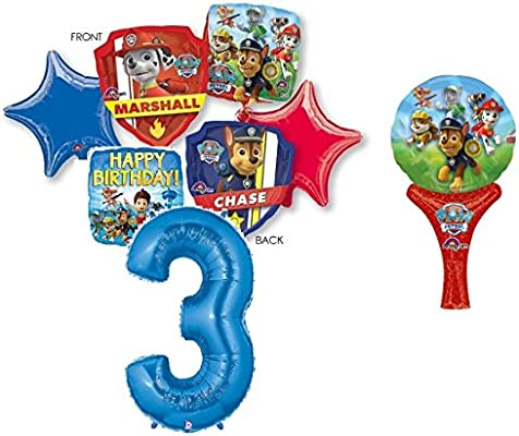 """Paw Patrol 3rd BIRTHDAY PARTY 7 PIECE BALLOONS BOUQUET DECORATIONS CHASE MARSHALL including 12\"""" Hand Held Balloon"""
