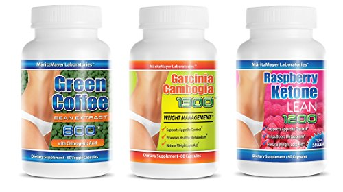 Garcinia Cambogia Extract 1300 | Raspberry Ketone Lean 1200mg | Pure Super Green Coffee Bean | 180 Caps (3-Pack)