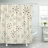 shower stall design ideas Emvency Shower Curtain 60S Mid Century Absctract Geometric Pattern Space Retro Design 1950S 1960S Waterproof Polyester Fabric 72 x 72 inches Set with Hooks
