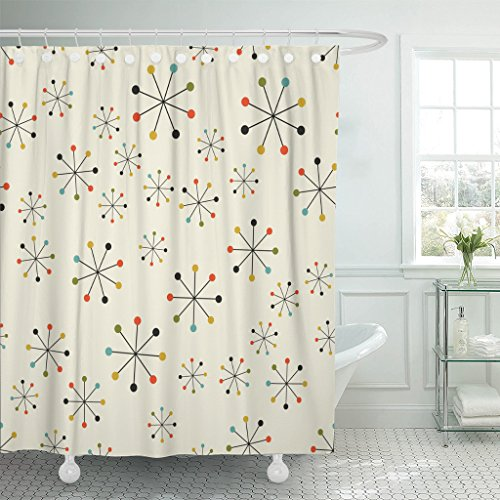 Emvency Shower Curtain 60S Mid Century Absctract Geometric Pattern Space Retro Design 1950S 1960S Waterproof Polyester Fabric 72 x 72 inches Set with Hooks