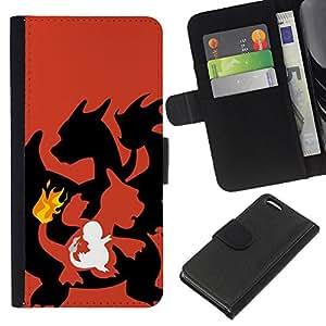 YiPhone /// Tirón de la caja Cartera de cuero con ranuras para tarjetas - Dragon Flame - Apple Iphone 5C
