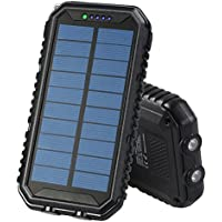 Solar Charger 12000mAh,Portable Power Bank with Dual USB Ports for iPhone iPad Cell Phones Tablets Emergency Backup Battery with Flashlight