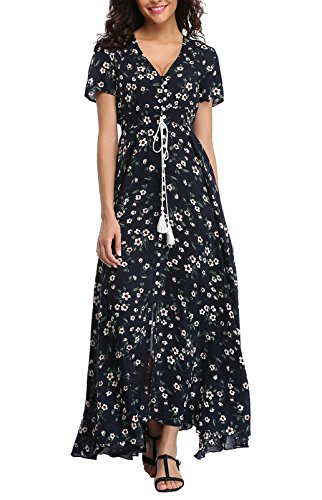 (VintageClothing Women's Floral Print Maxi Dresses Boho Button Up Split Beach Party Dress)