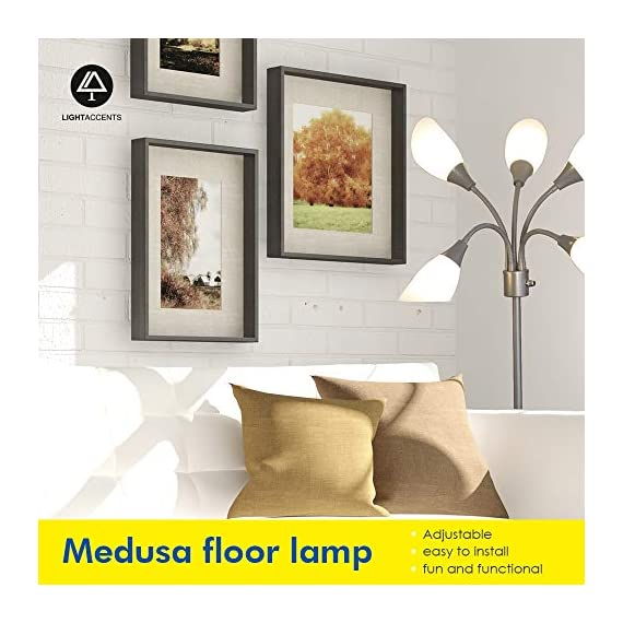 Modern Floor Lamp Room Light by Lightaccents - Medusa Multi Head Standing Lamp Bedroom Light with 5 Positionable White Acrylic Reading Shades Room Light (Grey) - GOOSENECK FLOOR LAMP WITH WHITE ACRYLIC SHADES: Made from durable metal with a painted Grey finish, this floor lamp features white shades offering a modern style. PERFECT FOR USE AS A LIVING ROOM FLOOR LAMP, KID'S ROOM FLOOR LAMP, OR DORM ROOM ADJUSTABLE FLOOR LAMP: The white shades give this floor lamp a unique look and make it perfect for use in any kid's room, living space, or dorm room. FLEXIBLE FLOOR LAMP, KID'S ROOM FLOOR LAMP, OR DORM ROOM FLOOR LAMP: The multicolored shades give this floor lamp a unique look and make it perfect for use in any kid's room, living space, or dorm room.ADJUSTABLE GOOSENECK - living-room-decor, living-room, floor-lamps - 51uYZt5P8lL. SS570  -