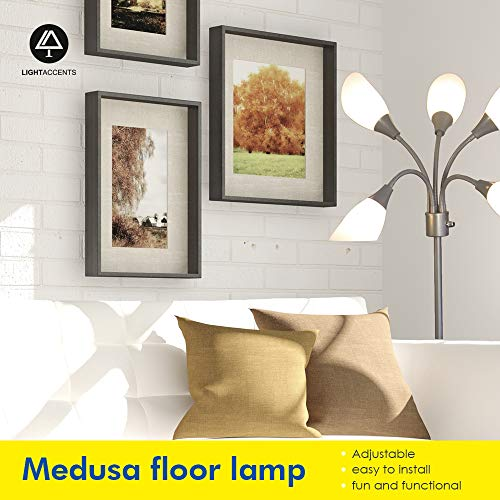 Light Accents Medusa Grey Floor Lamp with White Acrylic Shades by LIGHTACCENTS (Image #2)