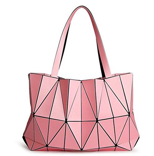 Haoling Femmes Géométrie Sacs Lumineux Couleur Mat Sacs à Main Pliables en Forme de Sac Fourre-Tout en Diamant pink
