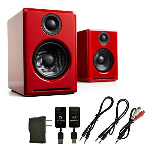 Audioengine A2+ Premium Powered Desktop Speakers (Red) with W3 Wireless Kit