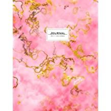 Journal (Diary, Notebook): 8.5 x 11, Lined. Pink Gold Marble Soft Cover.