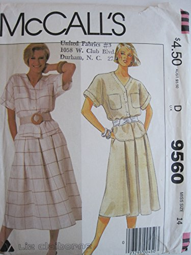 Liz Claiborne Pattern - McCall's Pattern 9560 Misses' Liz Claiborne Top and Skirt Size 14