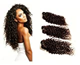"""JERRY CURL Brazilian Virgin Hair Weave Extensions 3 Bundle Pack with 50% Off LACE CLOSURE DEAL Curls Hair Weft Track 100 Human Hair GUARANTEED Dark Brown Color -12""""12""""14"""""""