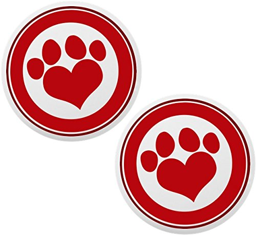 Set of 2 Red Paw Print with Border Ceramic Cabinet Drawer - Ceramic Paw