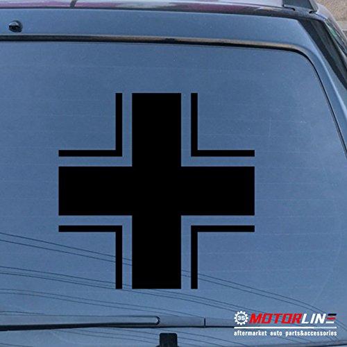 Iron Cross Decal - 3S MOTORLINE Iron Cross of German Armed Forces Wehrmacht Car Decal Sticker Balkenkreuz vinyl (black, 4'' (10.2cm))