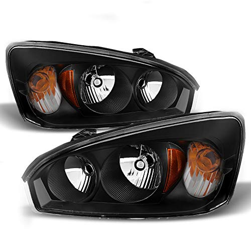 - ACANII - For Black 2004 2005 2006 2007 2008 Chevy Malibu Headlights Headlamps 04-08 Replacement Driver + Passenger Side