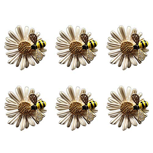 SCTD Daisy Flower Napkin Rings - Set of 6 Metal Bee Napkin Holders for Wedding Party and Daily Use, a Beautiful Complement to Your Dinner Table Décor (White)